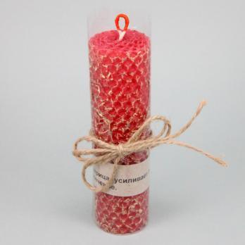 Свеча из вощины с Лакрицей (красная) Медовые Свечи Сибири